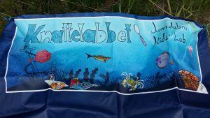 En blå banderoll med fiskar, krabbor, ankare, skattkista och texten Knattelabbet.