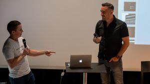 Janne Raninen och Anders Adali i centrumbiblioteket Ode 15.8.2019.