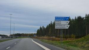 Avfarten Korsholm S vid Smedsby omfartsväg i Vasa.