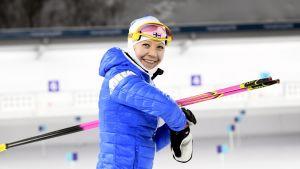 Kaisa Mäkäräinen på träning i Pyeongchang,