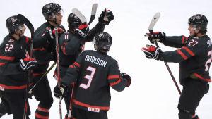 Kanada jublar efter mål i JVM.