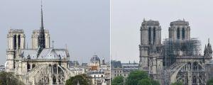 Notre Dame, före och efter branden 16.4.2019.