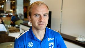 Kari Arkivuo i landslagsfärgerna i augusti 2017.