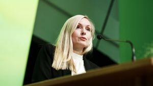 Maria Ohisalo under De grönas partimöte i Björneborg den 15.6.2019.