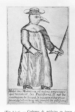 en pestdoktor som hade en dräkt på sig som liknar en fågel