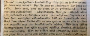 Klipp ur Hufvudstadsbladet 1951. Luciakandidat nummer tre presenteras.