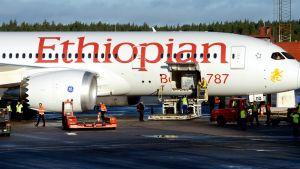 Ethiopian Airlines 20 september 2012 på Stockholm Arlanda flygplats.
