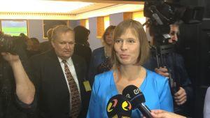 Presidentkandidat Kersti Kaljulaid under valet i Riigikogu