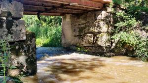 En fors under en bro. Brunt vatten forsar över stenar och bildar skum och bubblor.