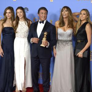 Sylvester Stallone med fru och döttrar