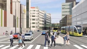 En framtidsvision över kollektivtrafiken vid Åbo teknologicentrum med gula snabbspårvagnar, fotgängare och bilar.