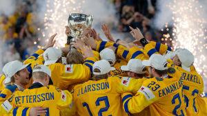 Sverige firar VM-guld i ishockey 2018.