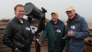 Hans Lindén, Johan Wadström och Matts Andersén uppe vid teleskopet på Meteorians tak.