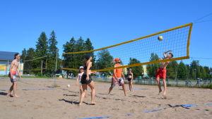 En grupp människor i olika åldrar spelar beachvolley. En pojke hoppar upp vid nätet och ska slå bollen.