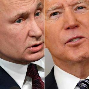Ett bildcollage på Vladimir Putin och Joe Biden.