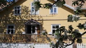 Ett gult stort hus (gästgiveri). I förgrunden grenar från ett blommande äppelträd.