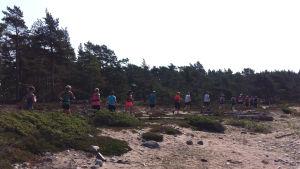 """En långt band av löpare springer längs en strand. De deltar i stiglöpning på Örö, i kampanjen """"Vi drar till skogs""""."""