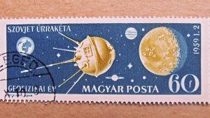 Sputnik satellit på ungerskt frimärke