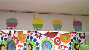 En bild från en dagis där ritade kakor finns på väggen. Under varje kaka står det en månad
