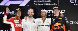 Sebastian Vettel, Lewis Hamilton och Max Verstappen avslutade säsongen 2018 i Abu Dhabi.