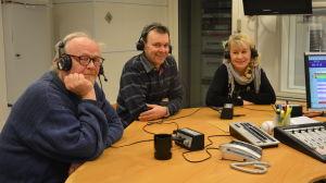 Tapio Laasonen, Stefan Elf och Lisbeth Ryhänen i Yle Västnylands studio.