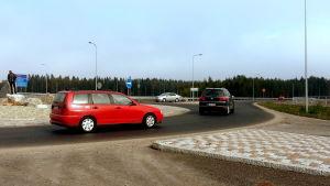 Rondellkörning vid Smedsby omfartsväg