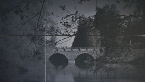 Akustikplattor som föreställer bro i Liljendal.