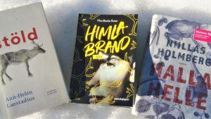 Böcker av Ann-Helén Laestadius, Niillas Holmberg och Moa Backe Åstot.
