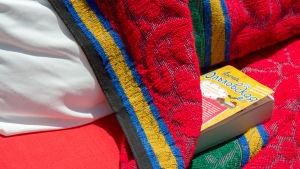 Rysk bok på strandstol i Sousse i Tunisien.