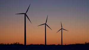 Tre vindkraftverk mot en röd kvällshimmel.