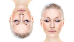 Kaksi kuvaa naisen päästä, joita muokattu kuvankäsittelyllä.