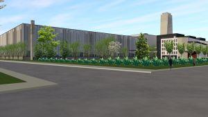 Skiss på Wärtsiläs nya Smart Technology Hub och kontor på Vasklot i Vasa.