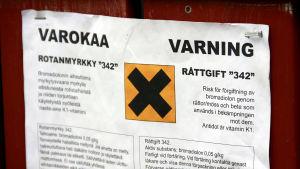 Varning för utsatt råttgift.