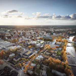 Flygbildsvision över hur historiska kvarteret i Åbo ska se ut i framtiden.