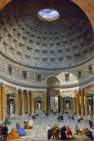 "Bild av målningen ""Interior of the Pantheon, Rome"" av Giovanni Paolo Panini (1691–1765)."