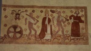 Dödsdansen - en unik väggmålning från 1500-talet i Ingå kyrka.