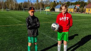 Två pojkar står på en konstgräsplan under en fotbollsträning.
