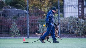 Polis med polishund på sportplan