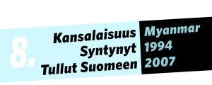 Kansalaisuus: Myanmar, syntynyt: 1994, tullut Suomeen: 2007.