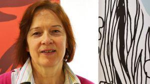 Anneli Hytönen som är utställningskoordinator på Konstfabriken i Borgå