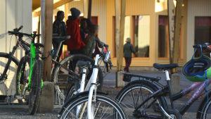 Cyklar och elever framför Gerby skola.