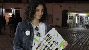 Den tunisiska lokalvalskandidaten Sahar Yahiaoui i Tunis.