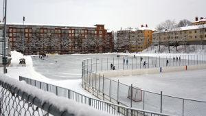 Skridskobanan på Barkplan i Åbo en snöig vinterdag.