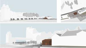 En arkitekt ritning av hur en servicebyggnad intill Kuntsi museum skulle kunna se ut.
