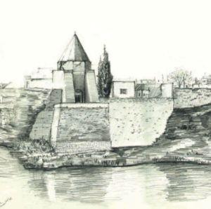 Arkitektritning av Amer Alazawi föreställande Mosuls strandlinje mot Tigris. Detalj ur stort panorama.