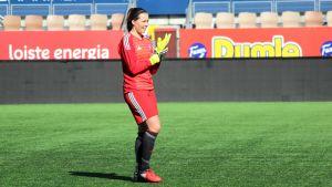HJK:s målvakt Minna Meriluoto är redo för spel mot Åland United våren 2018.