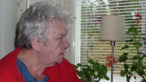 Rosie Westerlund tittar ut genom sitt köksfönster, pelargoner och bordslampa  på fönsterbrädet