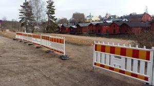 Tillfälligt räcke vid Borgå å