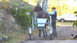 Träning av travhäst vid Ingmans stall i Sibbo