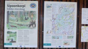 Anslagstavla för Sibbo storskogs nationalpark
